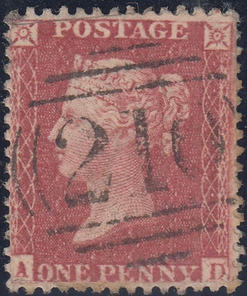 56212 - 1857 DIE 2 1D PL. 27 'AD MAJOR RE-ENTRY (SG 40/SPEC C10f). Used exa...