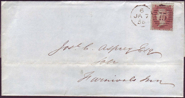 56720 - PLATE 15 (HJ). 1856 wrapper used locally in London addressed to F...