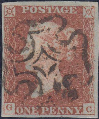 56926 - 1842 1D Pl.24 (GC)(SG 8). Fine used 1d pl. 24 lettered with g...