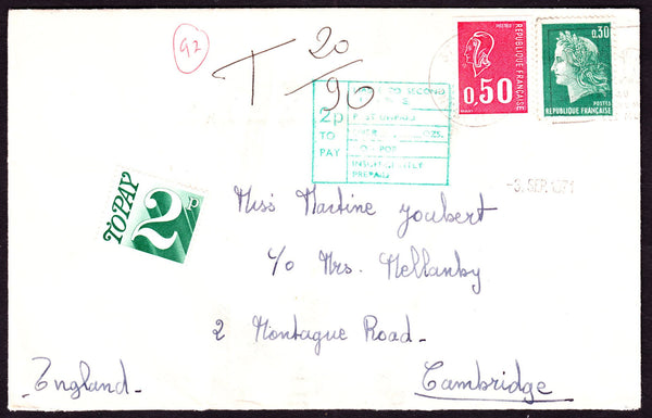 57212 - 1971 UNDERPAID MAIL FRANCE TO CAMBRIDGE. Envelope France to Cambridge wit...