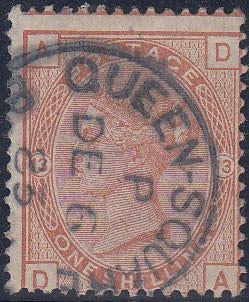 57684 - 1881 1/- orange-brown plate 13 (SG 163). A good us...