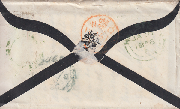 57814 - MAIL TO A SHIP. 1856 Mourning envelope Halstead (E...