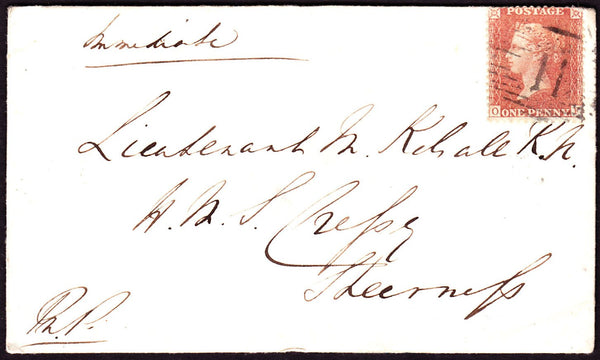57825 - 1856 MAIL TO 'H.M.S.CRESSY SHEERNESS'. 1856 envelope from...