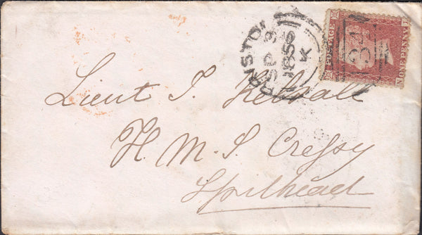 57826 - MAIL TO H.M.S.CRESSY SPITHEAD. 1856 envelope with ...