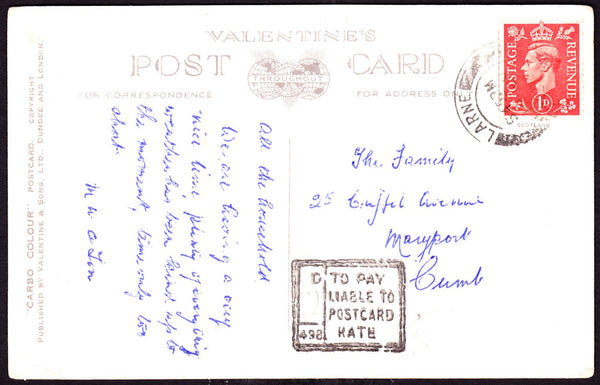 58025 - 1948 UNDERPAID MAIL IRELAND TO UK. Postcard Larne (Ireland) to Maryport, Cumberl...