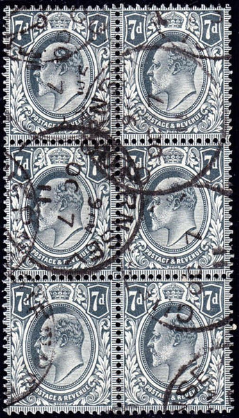58082 - 1910 7d grey-black (SG 249). A fine used block of ...