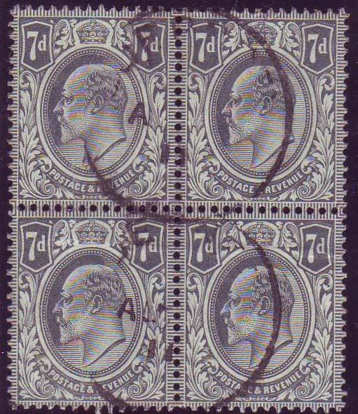 58081 - 1910 7d grey-black (SG 249). A good used block of ...