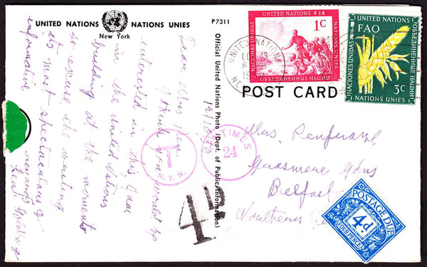 58372 - 1954 UNDERPAID MAIL NEW YORK TO BELFAST. Post card New York to Belfast  wi...