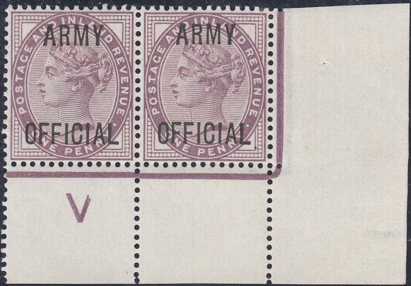 59727 - 1896 1D LILAC 'ARMY OFFICIAL' (SG043) CONTROL 'V' CORNER PAIR.