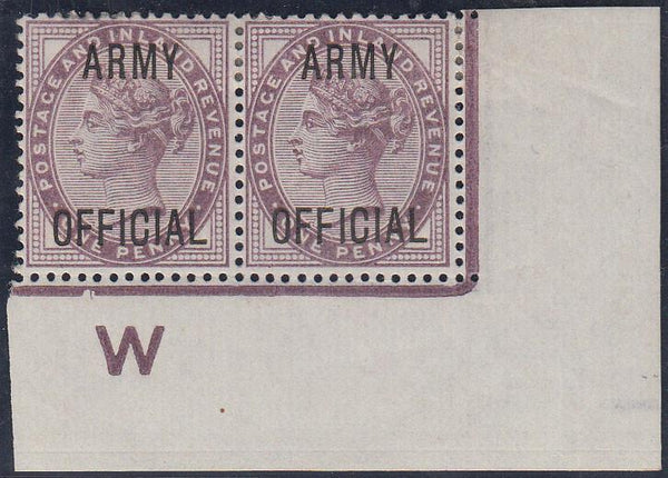 59728 - 1896 1d lilac ARMY OFFICIAL (SG O43). A fine large...