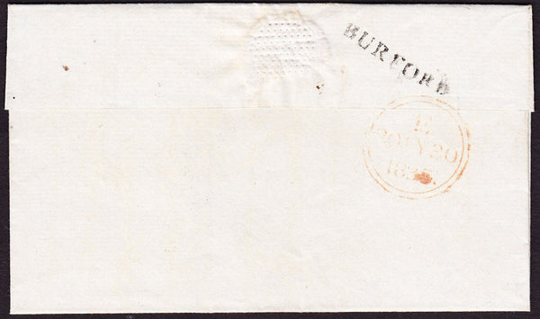 59845 - 1835 OXON/'BURFORD' STRAIGHT LINE HAND STAMP (OX56). Wrapper Burford to London with postal...