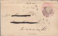 59952 - 1843 LEAMINGTON MALTESE CROSS/1D PINK ENVELOPE.