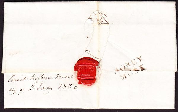60014 - 1835 SCOTLAND/'MONEYMUSK' HAND STAMP. Letter