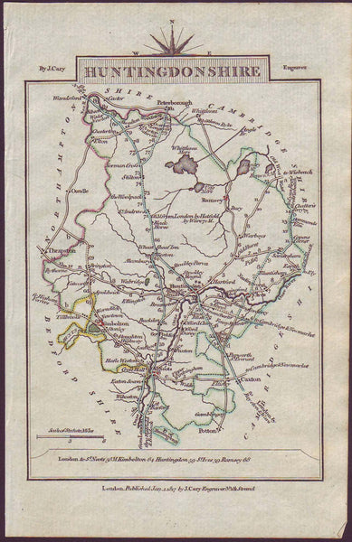60099 - 1817 HUNTS/MAP. A fine copy of the 1817 map...