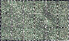 60351 - 1912 ½D ROYAL CYPHER INVERTED WATERMARK USED BLOCK OF 18. (SG351Wi).  Used block of 1912 ½d royal cypher INVERTED WATERMARK FROM SHEET...