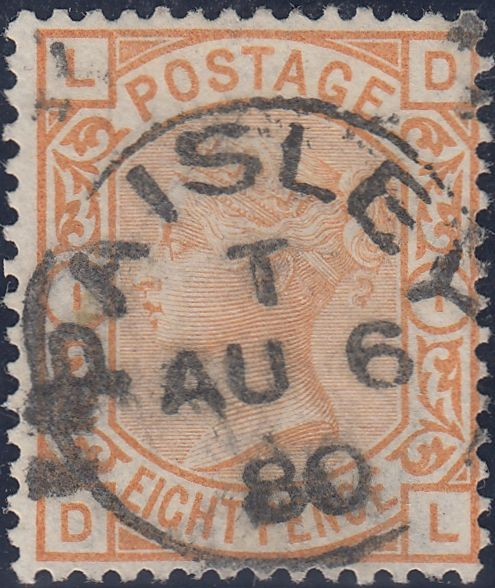 60495 - 1876 8D ORANGE (SG156) CDS USED. Fine used 1876 8d Orange (SG156) lettered DL,