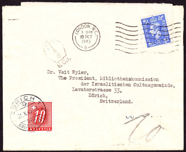 60553 - 1945 UNDERPAID MAIL. Re-used envelope London to Switz...