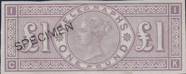 60586 - 1877 £1 TELEGRAPH COLOUR TRIAL IN DULL MAUVE (SPEC L236var). A good ...