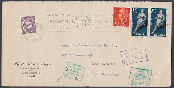 60628 - 1962 UNDERPAID MAIL SPAIN TO LONDON. Large envelope (223x103) Spain to London with Sp...