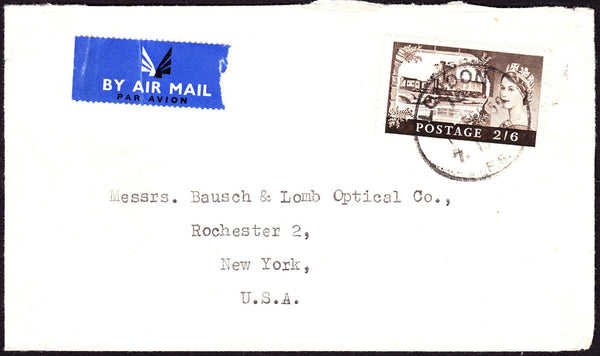 60654 - 1959 envelope London to New York with 2/6d castle ...