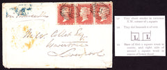 61145 - CRIMEAN WAR/PL. 6 (LJ LK LL). 1856 envelope from The Crimea to Live...