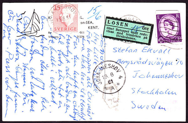 61149 - 1961 UNDERPAID MAIL UK TO SWEDEN. Post card Margate to Sweden with 3d wildi...