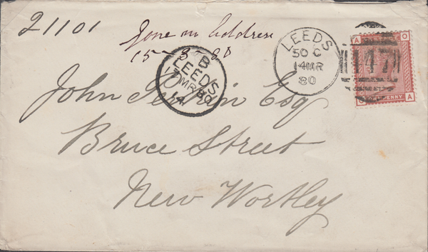 61292 - 1880 UNDELIVERED MAIL/YORKSHIRE. 1880 envelope Leeds to...