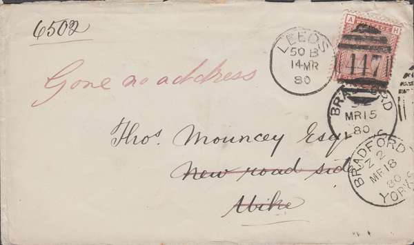 61297 - 1880 UNDELIVERED MAIL LEEDS /YORKSHIRE. 1880 envelope Leeds to...