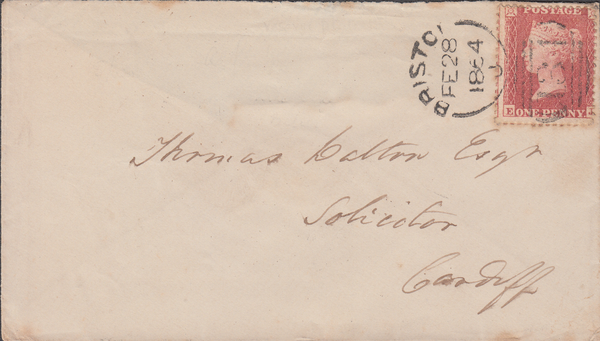 61330 - 1864 envelope Bristol to Cardiff (top flap missing...
