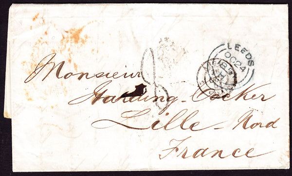61342 - 1851 MAIL LEEDS TO FRANCE. 1851 letter Leeds to Lille, France...