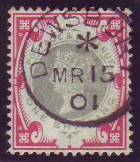 61390 - 1900 1/- green and carmine (SG 214). A superb used e...