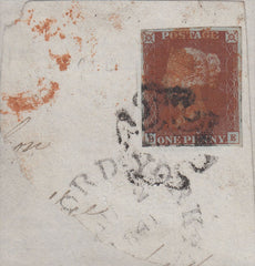 61416 - 1841 1D RED (SG8) CANCELLED RED and BLACK MALTESE CROSSES/PLATE 13 (BE)....