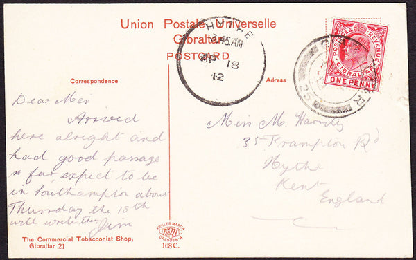 61797 - KENT. 1912 postcard Gibralter to Hythe, Kent with ...
