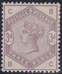 61831 - 1883 3d lilac (SG 191). A fine large part o.g. exa...