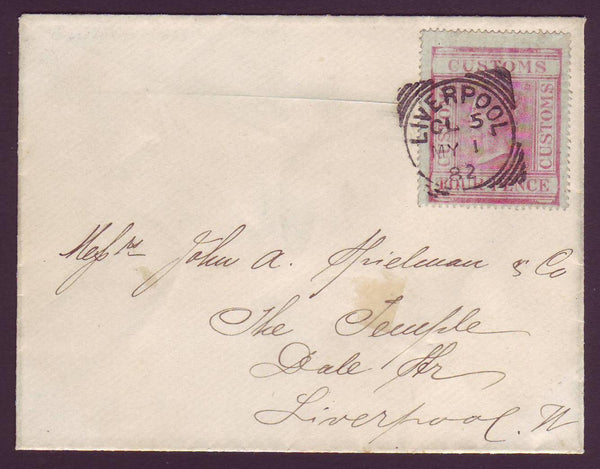 62056 - POSTALLY USED FOUR PENCE CARMINE CUSTOMS REVENUE. ...