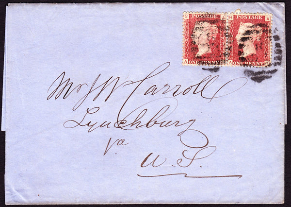 62353 - TRANSATLANTIC MAIL/1D PLATES (SG43) TO VIRGINIA. Undated wrapper London to Lync...