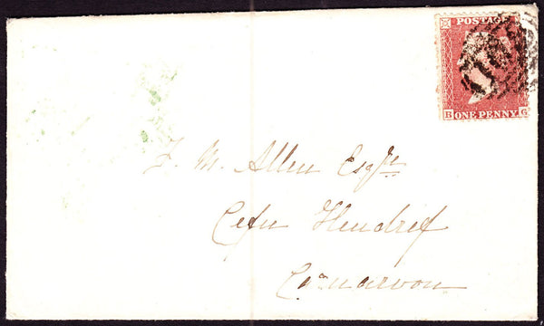 62524 - PLATE 16 (BG). 1856 envelope to Caernarvon with die II 1d star pl...
