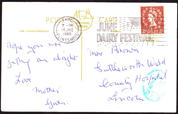 62577 - 1960 UNDERPAID MAIL. Post card Rhyl to Lincoln with 2d...