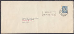 62606 -1936 MAIL ICELAND TO LONDON/'GRIMSBY SHIP-LETTER' HAND STAMP.  Fine envelope ...