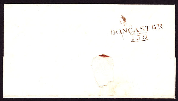62722 - YORKS CIRCA 1820 'DONCASTER 159' MILEAGE MARK (YK841). Undated wrapper, circa 1820, Doncaster ...