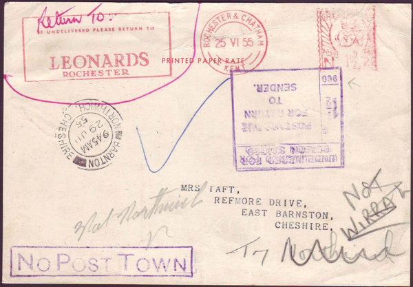 62921 - 1955 UNDELIVERED MAIL. Privately produced postcard Roch...