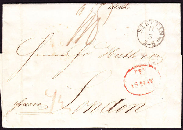 62990 - 1842 entire from Stettin to London dated 11th May ...