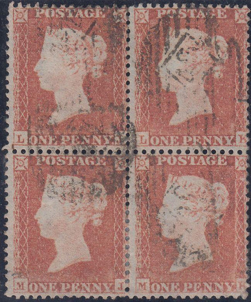 63556 - 1855 DIE 1 Pl. RES 6 S.C. 14 (SG22) USED BLOCK OF FOUR (LJ LK MJ MK). A g...