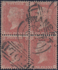 63722 - 1857 DIE 2 1D PLATE 33 PALE ROSE-RED ON WHITE PAPER (SG40) USED BLOCK OF FOUR.