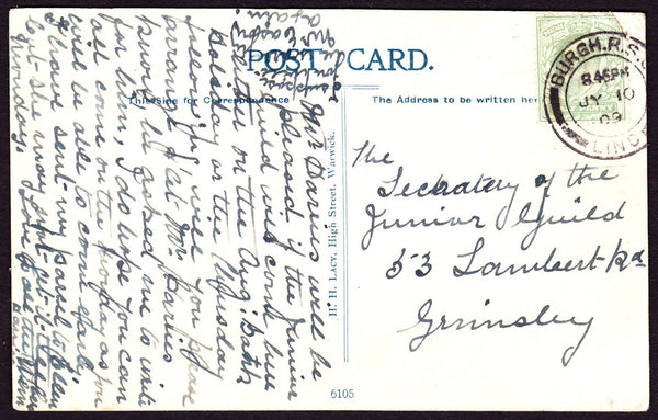 64090 - LINCOLNSHIRE. 1909 postcard of Guys Cliff House nr...
