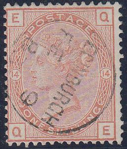 64105 - 1881 1/- orange-brown plate 14 (SG 163). Superb us...
