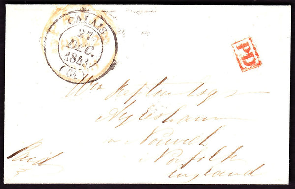 64221 - 1843 NORFOLK/INCOMING MAIL EX CALAIS. Envelope Calais to Nor...