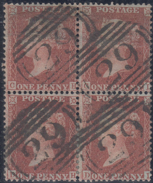 64289 - 1856 die II plate 23 red-brown on blued paper (SG ...
