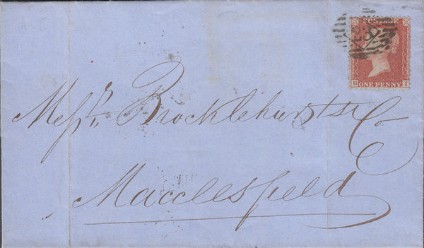 64305 - PL.5 (GI CONSTANT VARIETY 'MINUTE G') L.C.14 (SPEC C6i) ON COVER. 1855 wrapper London to Macclesfield (brocklehurst)...
