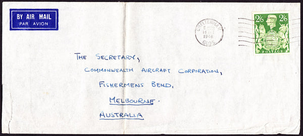 64325 - 1946 MAIL CHELTENHAM TO AUSTRALIA 2/6D YELLOW-GREEN (SG476b). Large envelope (230x102) Cheltenham to Australia with KGVI 2/...